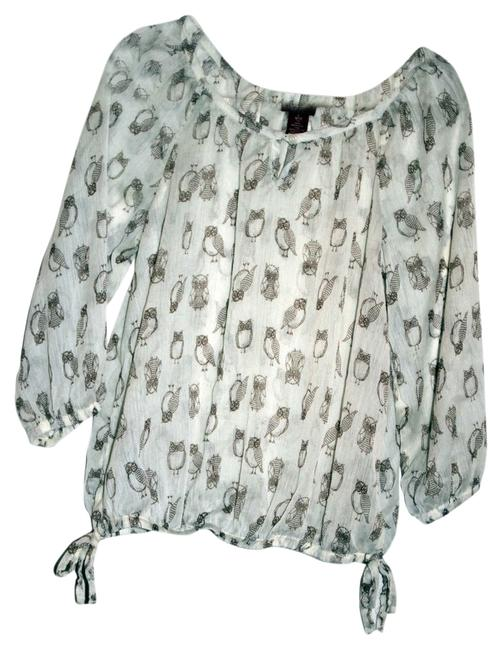 Arizona Jean Company Top Ivory/Brown Owl print