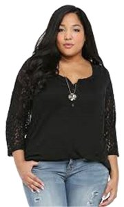 Torrid New W/ Tags Lace Illusion 3x 22/24 Top Black