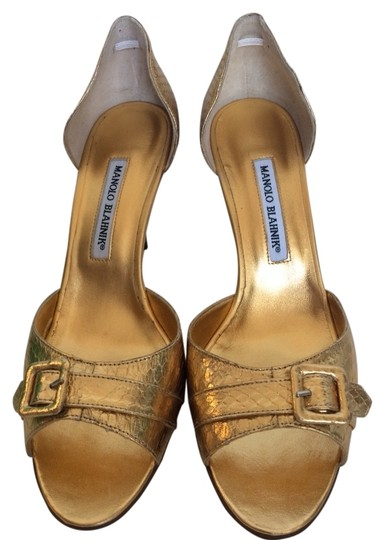 Manolo Blahnik Gold Pumps Image 0