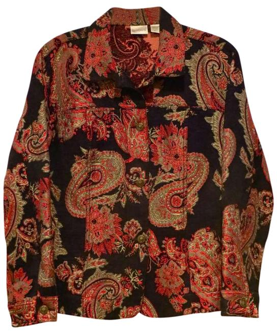 Chico's Tapestry Buttons Paisley Floral Black & Red Jacket