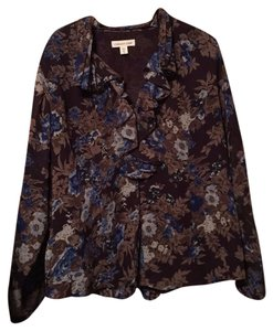 Coldwater Creek Top Brown and Blue Floral