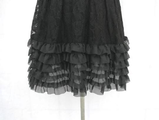 Black Chiffon Rose Lace Halter Floral Lace with Sequins Detail Modern Bridesmaid/Mob Dress Size 8 (M)