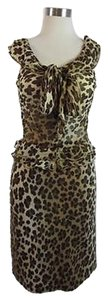 Moschino Silk Top Wool Outfit Sz 46 Skirt Leopard Print - Browns