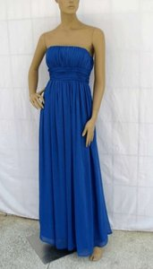 Blue Long Strapless Pleated Chiffon Size:med/lrg Dress Dress