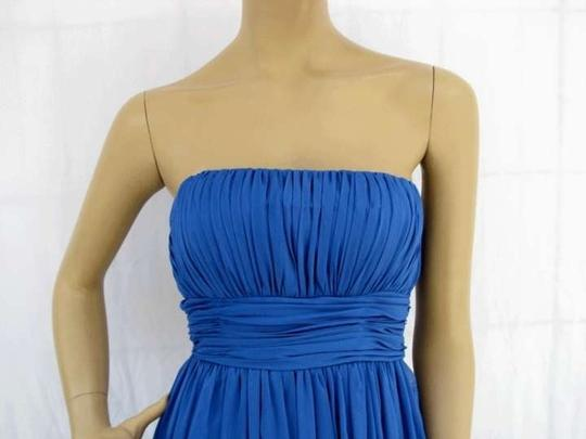 Blue Chiffon Long Strapless Pleated Size:med/Lrg Formal Bridesmaid/Mob Dress Size 10 (M)