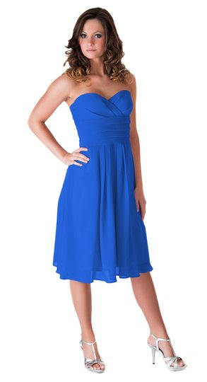 Blue Chiffon Strapless Pleated Waist Slimming Size:sm Feminine Bridesmaid/Mob Dress Size 6 (S)