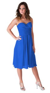 Blue Chiffon Strapless Pleated Waist Slimming Size:lrg Feminine Bridesmaid/Mob Dress Size 12 (L)