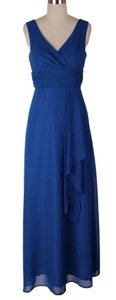 Blue Long Chiffon Draping V-neck Size:med Dress