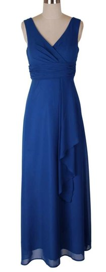 Blue Chiffon Long Draping V-neck Size:med Modern Bridesmaid/Mob Dress Size 8 (M)