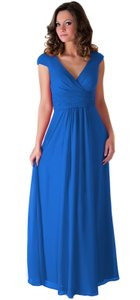 Blue Chiffon Long Draping V-neck Formal Bridesmaid/Mob Dress Size 12 (L)