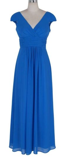 Blue Chiffon Long Elegant Pleated Waist Mini Sleeves Formal Size:med Modest Bridesmaid/Mob Dress Size 8 (M)