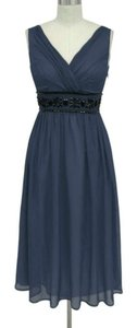 Dark Navy Blue Chiffon Goddess Beaded Waist Size:lrg Feminine Bridesmaid/Mob Dress Size 12 (L)