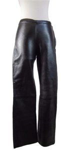 Black Genuine Leather Boot Cut Pants