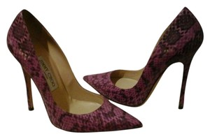 Jimmy Choo Glossy Elaphe Orchid Purple/ Snakeskine Pumps