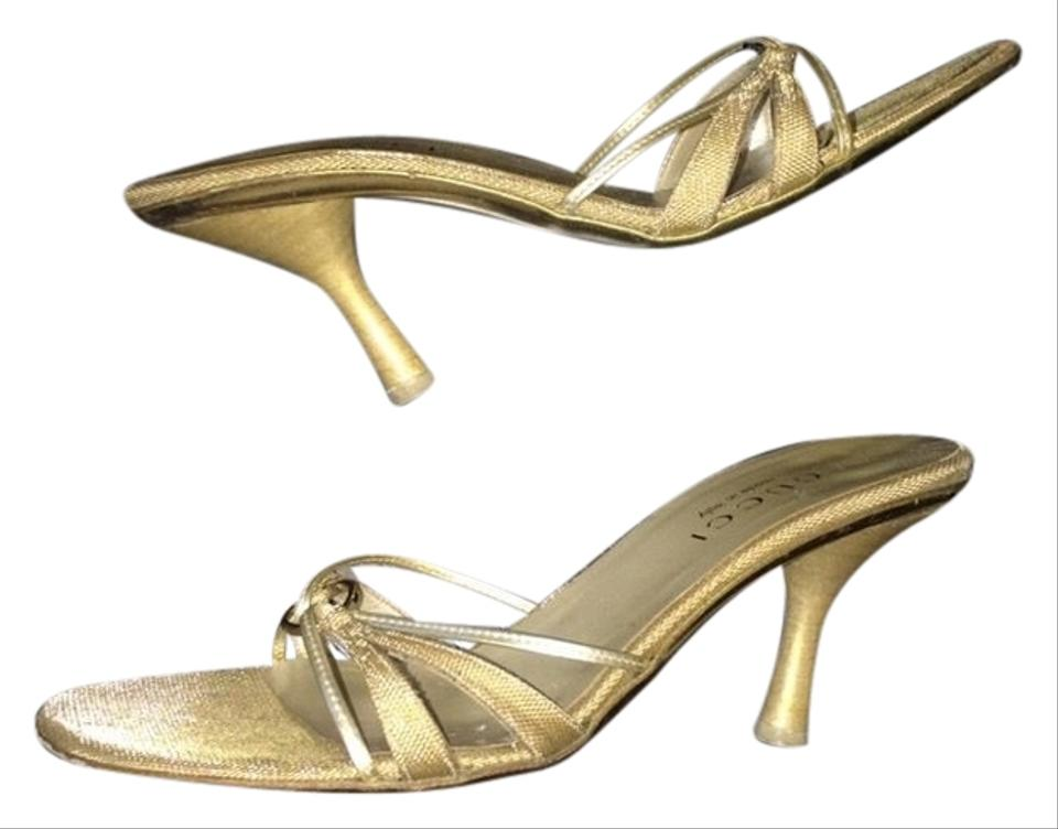 439ac58382f Gucci Gold Strappy Fringed Evening Heels Sandals 61 2 B M Mules ...