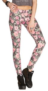 Neff Floral Waistband Stretch Comfy Casual Cute Watercolor Painted Charcoal, Pink, Fuschia, Green Leggings