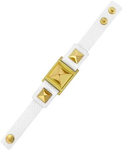 Vince Camuto MARCEL Gold-tone Textured Leather Stud Snap Bracelet