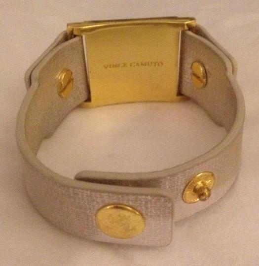 Vince Camuto MARCEL Gold-tone Textured Leather Stud Snap Bracelet Image 2