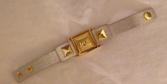 Vince Camuto MARCEL Gold-tone Textured Leather Stud Snap Bracelet Image 3