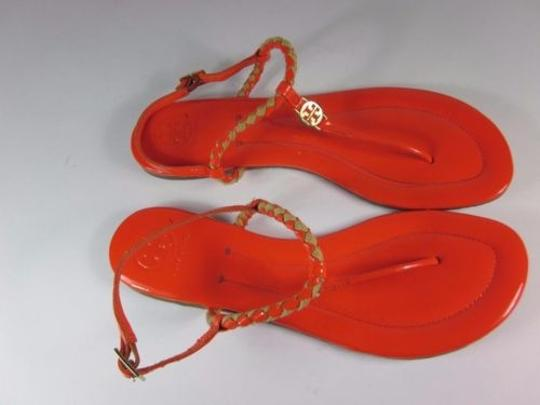 Tory Burch Leather Flat Logo Red Flame Orange Sandals