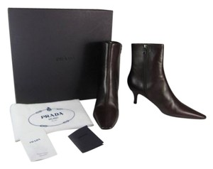 Prada Leather Logo New Dark Brown Short Boots