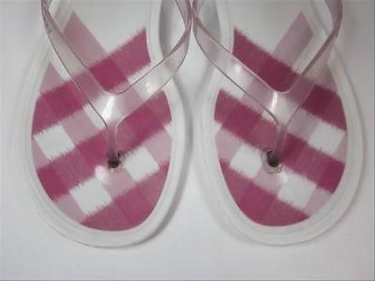 Burberry Check W Logo Sz 7m White with Pink Sandals