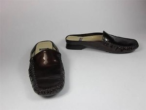 Stuart Weitzman Patent Leather Slidesloafers Sz 7m Brown Flats