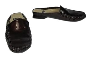 Stuart Weitzman Patent Leather Slidesloafers Brown Flats
