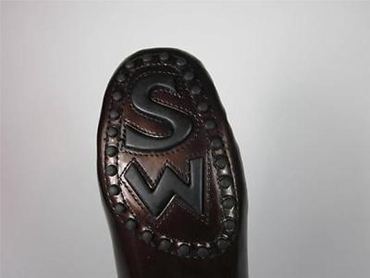 Stuart Weitzman Patent Leather Slidesloafers 7m Brown Flats