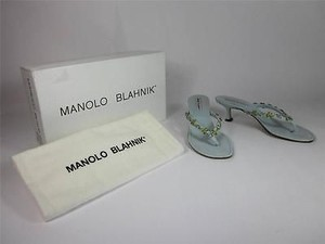 Manolo Blahnik Kid Powder PowderBlue Sandals