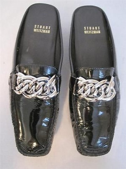 Stuart Weitzman Leather Chain Black Flats Image 3
