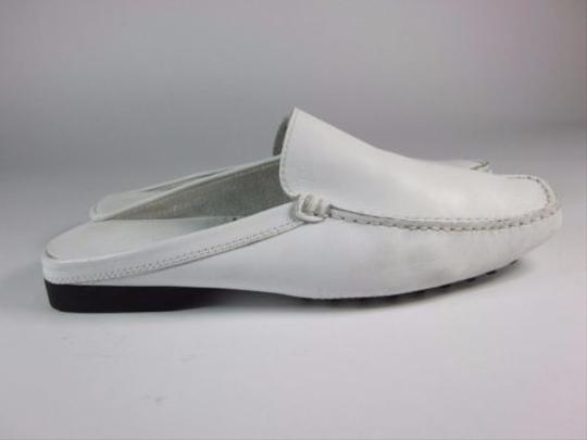 Tod's Leather Logo Drivers Loafer White Flats