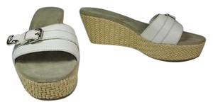 Prada Leather Platform Metal Buckle Wedge White Sandals