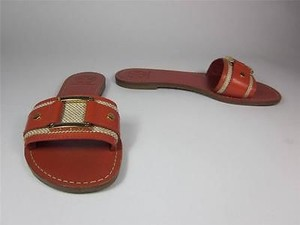 Tory Burch Palma Orange Leather W Logo Buckle Sz Equestrian Orange Sandals
