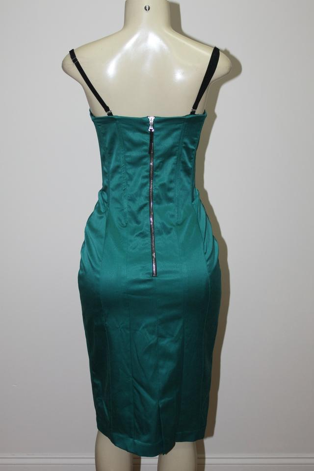 694f45ec Dolce&Gabbana Emerald Green (Official Color Is Called Petroleum) Stretch  Sateen Bustier Cocktail Dress