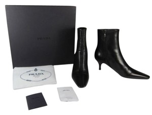 Prada Smooth Black Leather Short Boots