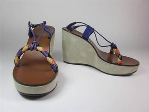 Miu Miu Leather Platform Wedge Sz 10m Purple, Multi-Color Sandals