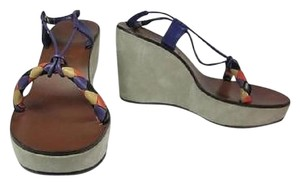 Miu Miu Leather Platform Wedge Multi-Color Sandals