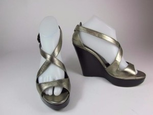 Burberry Bronze Leather Wedge Heels Metallic Bronze Sandals
