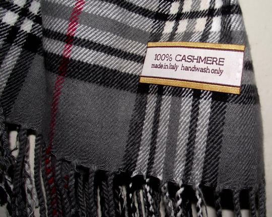 Other 100% Cashmere Black Block Check Plaid Scarf Wrap Evening Casual