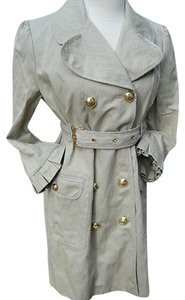 Juicy Couture Khaki Gold Button Tulip Hem Trench Jacket 34 Trench Coat