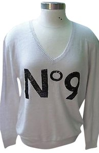 Wildfox Couture Designer Sequin Gray White No9 V Neck Sweater