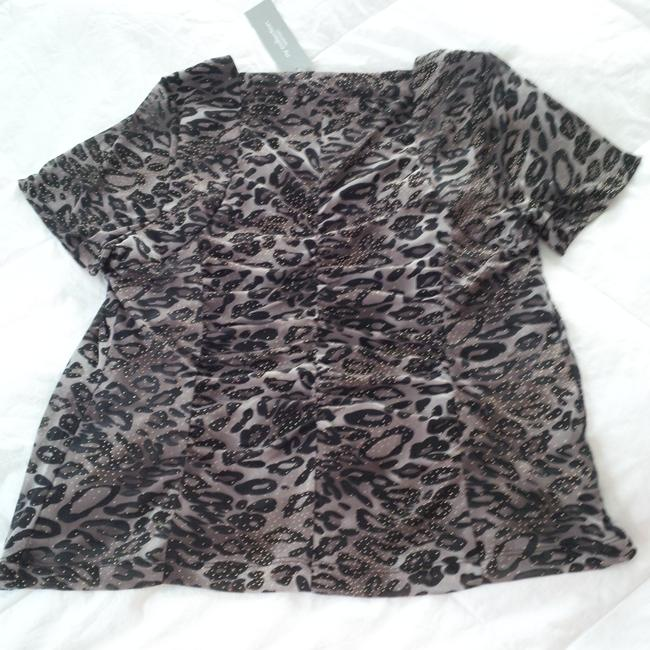 NY Collection Top animal print brown/white/black/gold