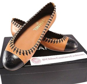 Chanel Bn Stitched Braided Black Leather Ballet Loafers Brown Flats