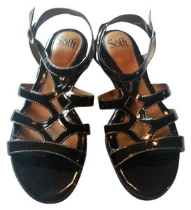 Eürosoft by Söfft Sofft Patent Leather Flats Comfortable Black Sandals