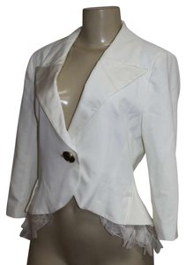 PHOEBE COUTURE Blazer Size 6 3/4 Length CREAM WHTIE - RUFFLE Jacket