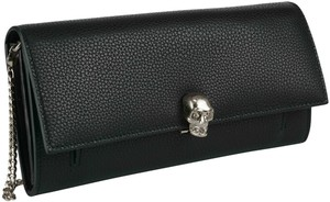 Alexander McQueen Silver Skull Flap Wallet On Chain