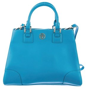 Tory Burch Leather Gold Hardware Reva Logo Monogram Gold Robinson Embellished Saffiano Textured New Satchel in Blue