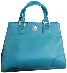 Tory Burch Leather Gold Hardware Satchel in Blue