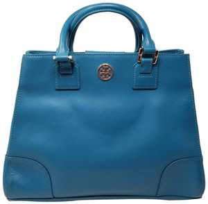 Tory Burch Gold Hardware Miller Reva Robinson Silver Hardware Satchel in Blue